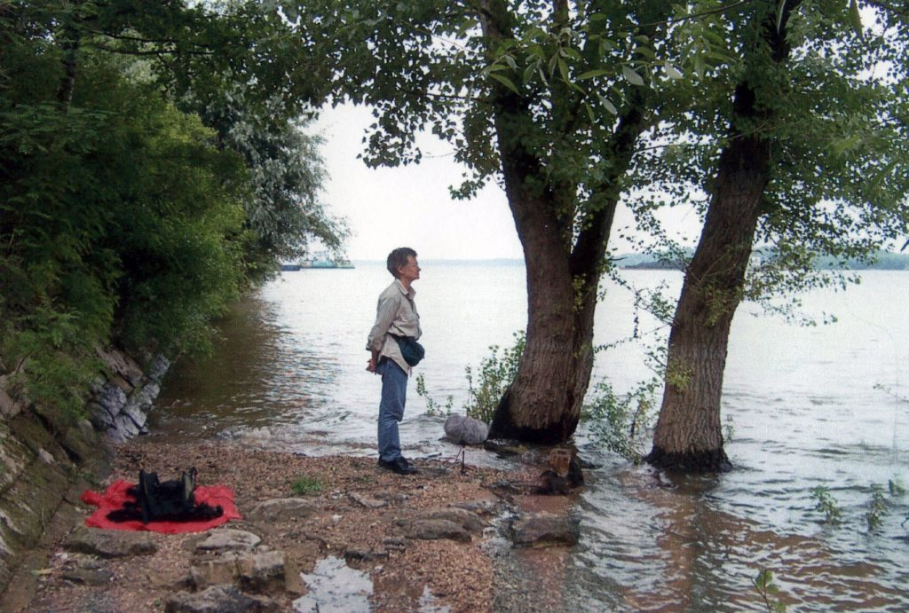 Photo of Annea Lockwood recording A sound map of the Danube